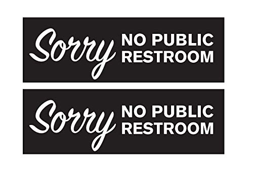 "No Public Restroom Sign, 2.75"" x 8.5"", White and Black, 2 Pack, Self- Adhesive, Great for Restaurants, Offices, Retail Stores"