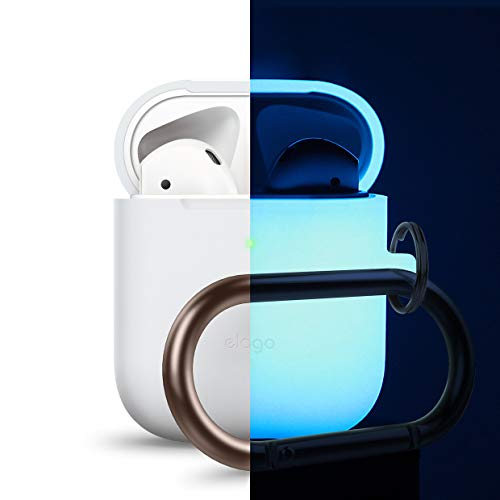Case Glow - elago AirPods Hang Case [Nightglow Blue] - [Compatible with AirPods 2 & 1 ; Front LED Visible][Support Wireless Charging][AirPods 2 Fitting Tested][Extra Protection] - for AirPods 2 & 1
