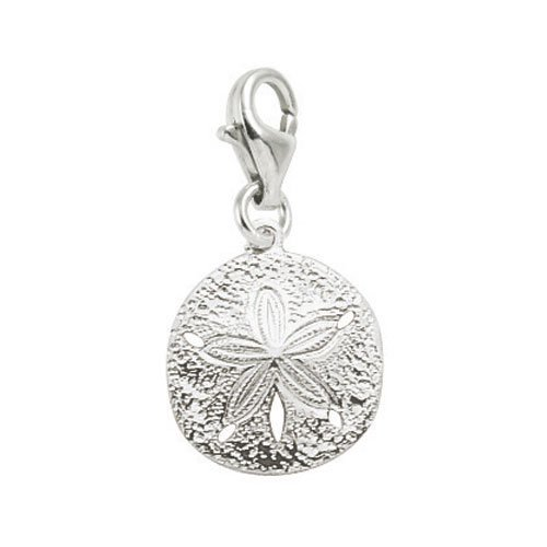Rembrandt Charms Sand Dollar Charm with Lobster Clasp, Sterling Silver (Lobster Silver Charm)