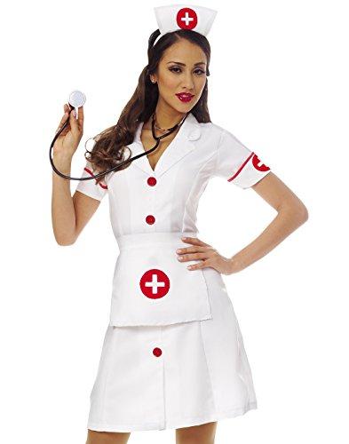[Costume Culture Women's Classic Nurse Costume, White, Large] (Womens Nurse Halloween Costumes)