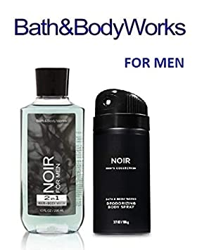 BATH AND BODY WORKS, GIFT SET NOIR FOR MEN – BODY WASH AND DEODORIZING BODY SPRAY- FULL SIZE
