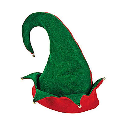 Felt Elf Hat, Red/Green, One Size -