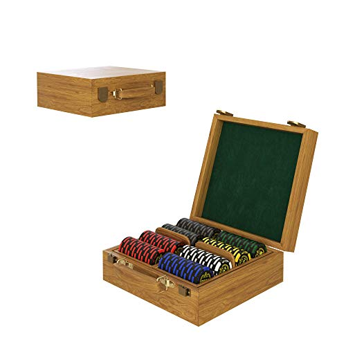 Lucky Birch Premium Poker Chip Set for Texas Hold'em, Blackjack, Gambling - Oak Wood Case - 200 Premium Clay Composite Casino Style Chips (14g) - Playing Cards, Dealer & Blind Buttons