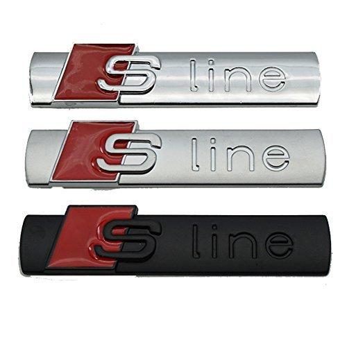 Firemans 2pcs Sline Emblem S line S-line Sline Badge Sticker Metal Decal For A1 S1 A2 S2 A3 S3 RS3 A4 A4L S4 RS4 A5 S5 RS5 A6 S6 RS6 A7 S7 RS7 A8 S8 RS8 Q2 Q3 Q5 Q8 Body Sticker Black+Red