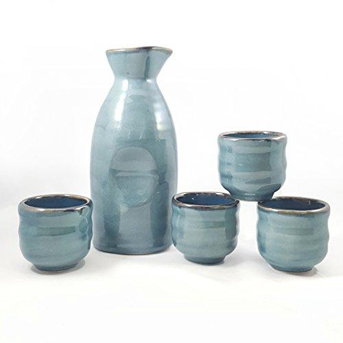 Japanese Ceramic Sake Cup - Happy Sales HSSS-BLU03,  5 piece Ceramic Sake set - Grey Blue
