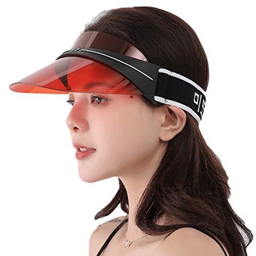 UV Protection Transparent Shield Visor Sun Hat Head Band Style Sunglasses Cap (Red, -