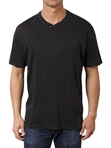 Minerals Mens Short Sleeve Mineral Washed Pima V Neck T Shirt X Large Black