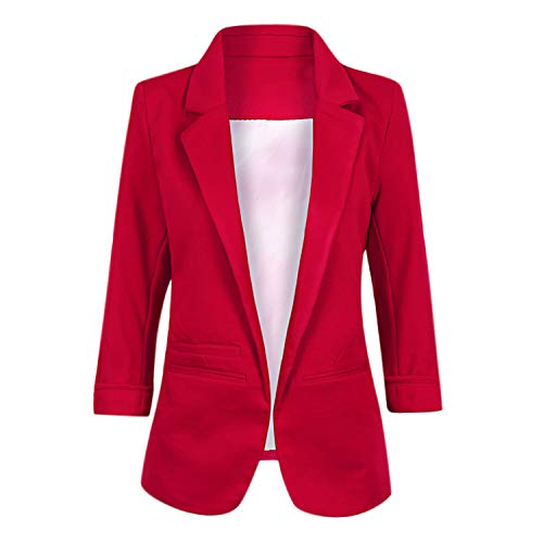 (Lisli Women's Casual No-Buckle Work Blazer Rolled Up 3/4 Sleeve Slim Jacket Suits Wine Red)