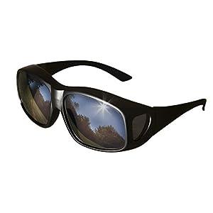 LensCovers Sunglasses - Wear Over Prescription Glasses. Size Large with Reflective Lens