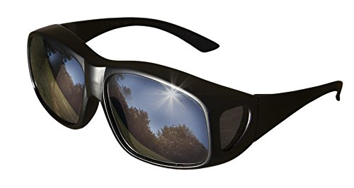 LensCovers Sunglasses - Wear Over Prescription Glasses. Size Large with Reflective Lens