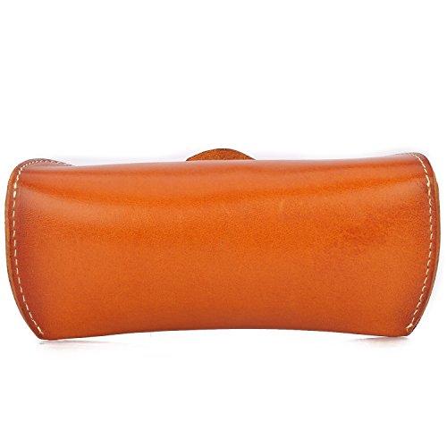 ZLYC Unisex hecho a mano piel colección duro soporte para gafas, diseño de caso amarillo