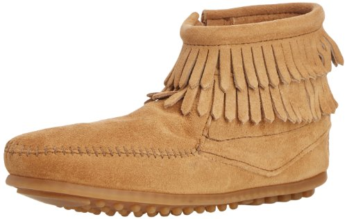 Minnetonka Double Fringe Side Zip Boot (Toddler/Little Kid/Big Kid), Taupe, 1 M US Little Kid