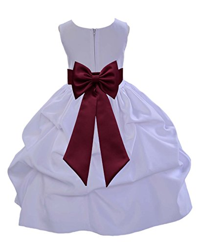 ekidsbridal White Pick-Up Satin Bubble Flower Girl Dress Ballroom Dance Dresses 208T 6 by ekidsbridal