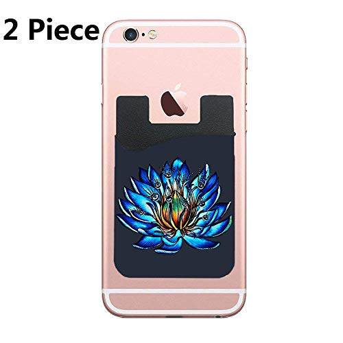 (Blue Water Lily Flower Monster Cell Phone Card Holder, Stick On Wallet for Back of Phone, for iPhone, All Smartphones - 2Pack)