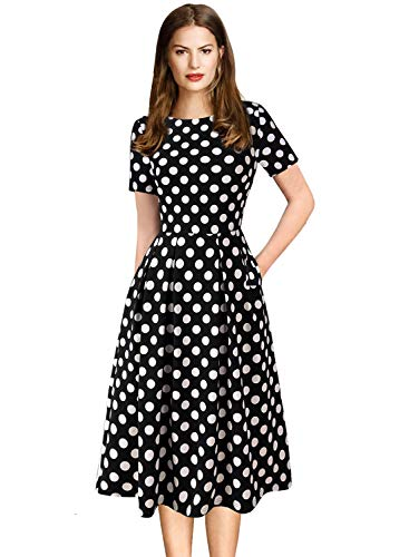 VFSHOW Womens Black and White Polka Dot Pockets Pleated Work Office Business Casual A-Line Dress 2767 BLK XL (Belted Little Black Dress)