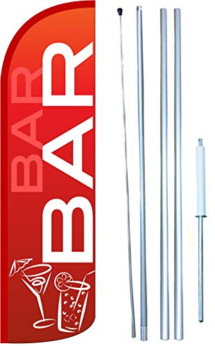 Bar Windless Swooper Tall Feather Banner Flag Kit (11.5' Tall Flag, 15' Tall Hybrid Flagpole, Ground Mount Stake) by The Flag Depot