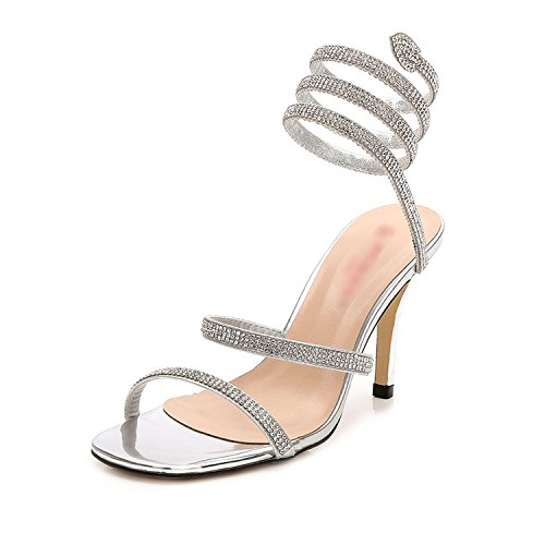 Sky-Pegasus 2018 New Metal high Heels Female Summer with Snake-Like Winding Diamonds Sandals Open Toe,Silver,12.5