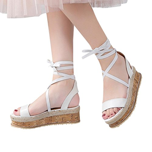 HLHN Women Sandals,Roman Fish Mouth Ankle Cross Strap Thick-Bottom Platform Wedge High Heel Peep-Toe Slope Shoes Casual Lady White