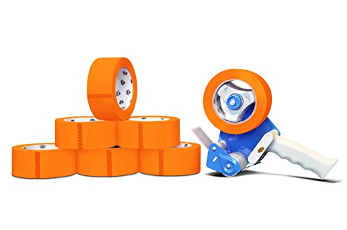 Colored Premium Grade Packaging Tape: 3 in. x 55 yds. 2 Mil (Orange) 144 Rolls by PackagingSuppliesByMail + Free Dispenser by PackagingSuppliesByMail