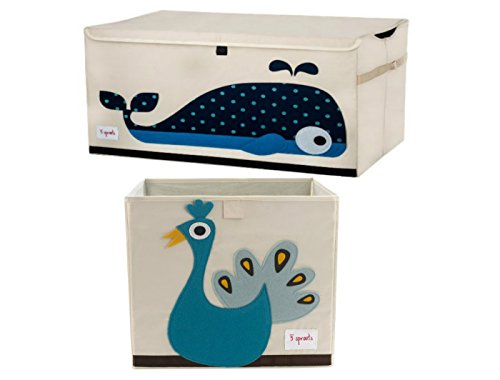 Cute Whale Chest Toy Storage Bin Container and Peacock Toy