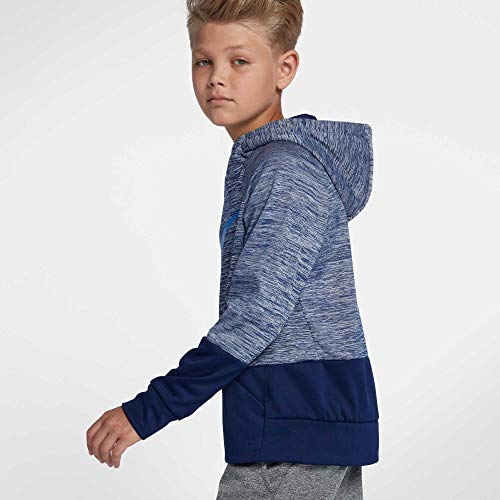NIKE Boys' Therma Heathered Graphic Hoodie(Blue/Blue, X-Large) by Nike (Image #2)