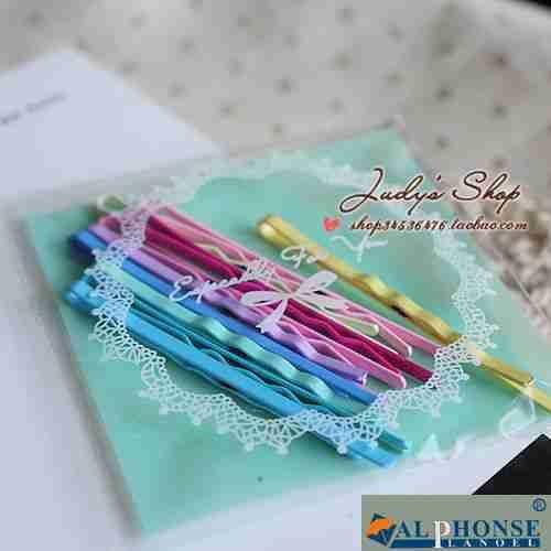 Small hairpin word folder set color mint green metal clip head curtain edge clip clip bangs