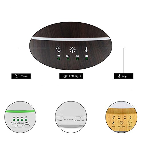 Aromatherapy Essential Oil Diffuser Cool Mist Humidifier 500Ml Ultrasonic With Adjustable Mist Mode Auto Shut-Off Timing Feature LED Light Perfect For Home,Office,Living Room,Spa,Car,Black by L&X (Image #2)