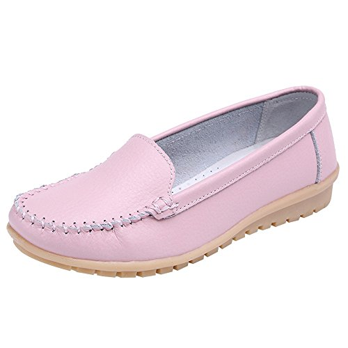 Natural Canvas Flat Construction - Women's Slip On Flat Shoes,Comfort Walking Leather Loafers Round Toe Driving Shoes Soft Bottom Sneakers Office Work Shoes (Pink, US:8.5)