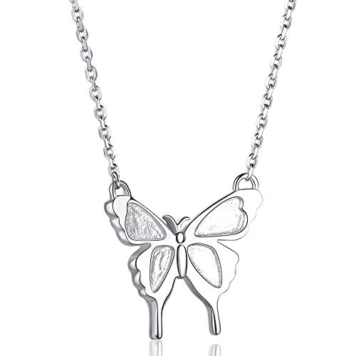 (Annis Munn Happiness Butterfly Necklace - 925 Sterling Silver Butterfly Pendant Necklace, Dainty Butterfly Charm Valentine;s Day Jewelry Birthday Gift for Girls and Women)