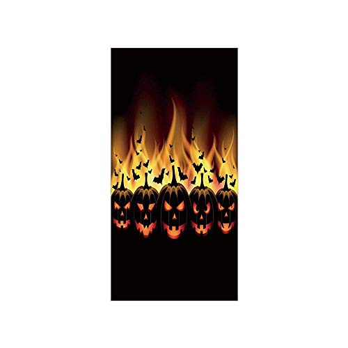 Yaoni 3D Decorative Film Privacy Window Film No Glue,Vintage Halloween,Happy Halloween Image with Jack o Lanterns on Fire with Bats Holiday Decorative,Black Scarlet,for Home&Office