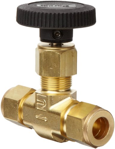 Parker V Series Brass Needle Valve, Inline, Hand Wheel, PCTFE Tipped Stem, 1/2