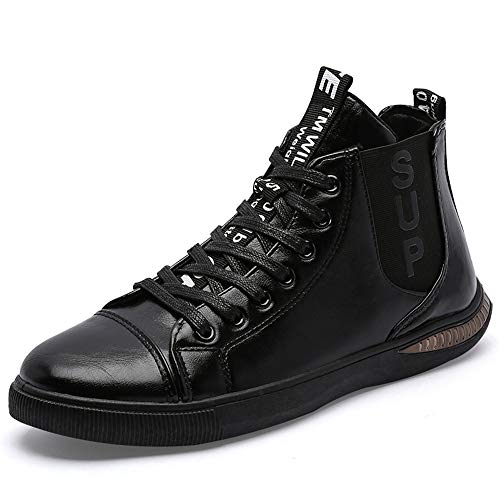 Classic Men's Lace up Round Toe Martin Boots High Top Leather Sneaker Fashion Chukka Boots(Black & 43/9 D(M))