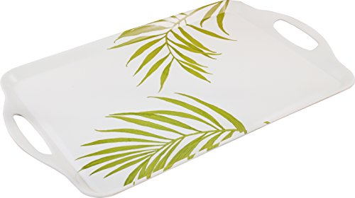 Corelle Coordinates by Reston Lloyd Melamine Rectangular Serving Tray with Handles, Bamboo Leaf