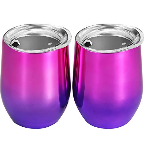 Skylety 12 oz Double-insulated Stemless Glass, Stainless Steel Tumbler Cup with Lids for Wine, Coffee, Drinks, Champagne, Cocktails, 2 Pieces (Purple Color Gradient)