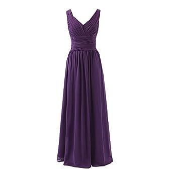 SuperKimJo Long Cheap Bridesmaid Dress for Women V Neck Chiffon Prom Dresses 2017