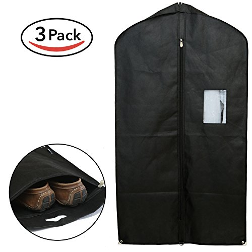 Home Haven Set of 3 Breathable Garment Bags for Storage and Travel - Gusseted Garment Bag Covers for Suit Carriers, Dress and Clothes - Suit Bag for Men (Black)
