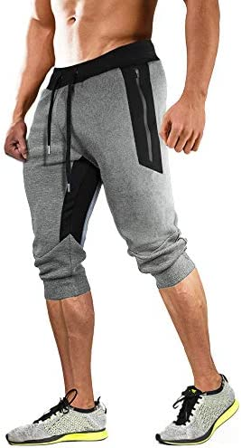 MAGCOMSEN Men's Joggers Sweatpants with Pockets Elastic Waist Capri Gym Workout Running Shorts