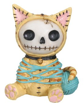 Furrybones Calico Mao Mao Signature Skeleton in Kitty Cat Costume Wrapped in Yarn -