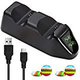 TPFOON Controller Charger with LED Indicator Compatible with Sony PS4/PS4 Slim/PS4 Pro, Dual EXT Ports Charging Station Stand Work with Playstation 4 DualShock 4 Wireless Gamepad