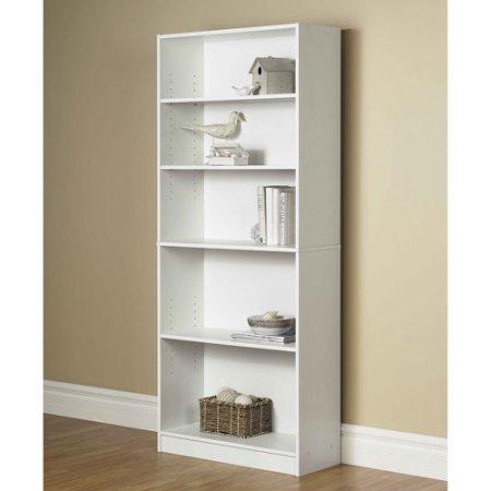 Orion Wide 5-SHELF Bookcase, Multiple Finishes (White)