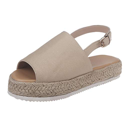Toimothcn Women's Open Toe Ankle Strap Espadrille Sandal Casual Straw Thick Bottom Wedge Shoes (Beige,US:6.5)