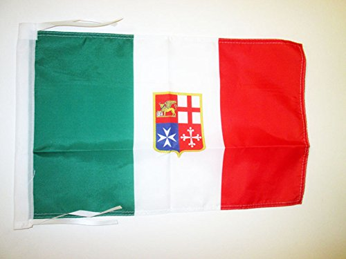 AZ FLAG Italy Navy Civil Ensign Flag 18'' x 12'' Cords - Italian Nautical Small Flags 30 x 45cm - Banner 18x12 in ()
