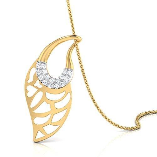 18K Or Blanc 0,04CT TW Round-cut-diamond (IJ | SI) Pendentif