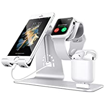 Bestand 3 in 1 Apple iWatch Stand, Airpods Charger Dock, Phone Desktop Tablet Holder for Airpods, Apple Watch/ iPhone 7 Plus/ iPad ,Silver(Patenting)