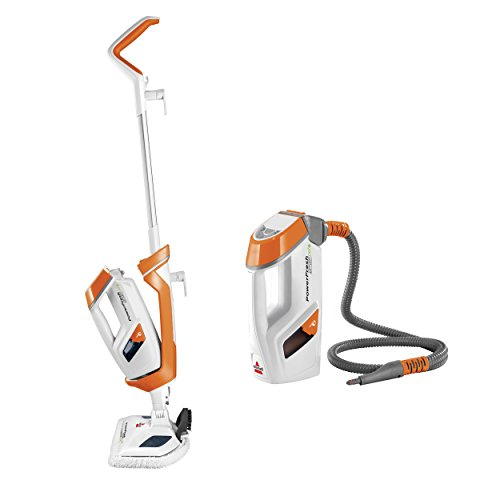 Bissell PowerFresh Lift-Off Pet Steamer, Tile, Bathroom, Hard Wood Floor Cleaner, 1544A Steam Mop, Orange