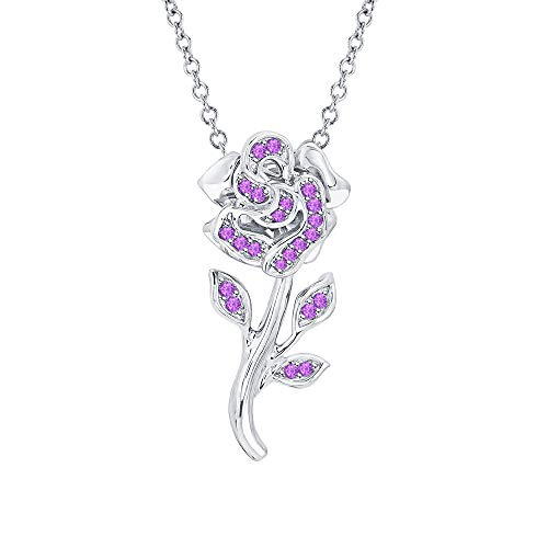 Beautiful Rose Flower Purple Amethyst Pendant Necklace 18k White Gold Over 925 Sterling Silver for Girl's ()
