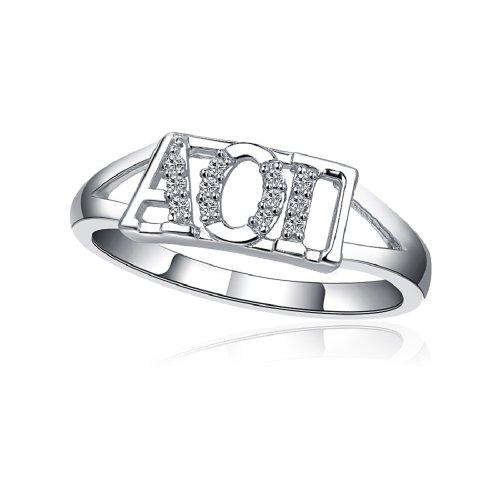 Alpha Omicron Pi Horizontal Silver Ring