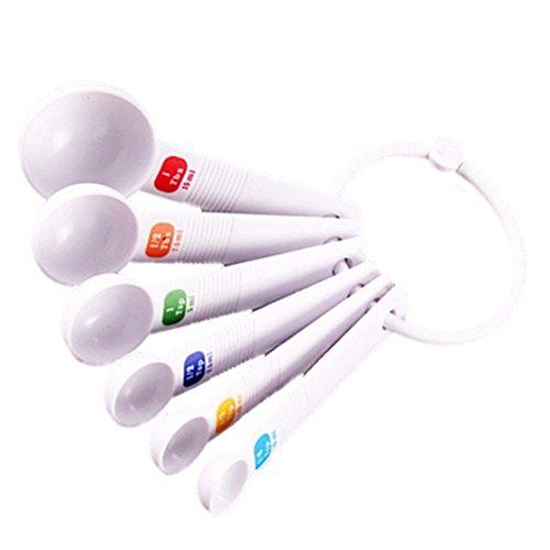 Spoon - TOOGOO(R)White Measuring Spoon Tea Scoop Teaspoon Baking Cooking Kitchen Tool 6PC