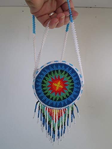 Hand beaded blue red green star medallion disc Guatemalan central american Native starburst medicine bag stash pouch necklace fair trade southwest Aztec Indian design Ethnic beads bead