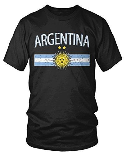 Amdesco Men's Argentina Flag and Sun Emblem, Sun of May T-shirt, Black - Sun Argentina